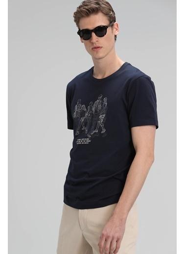 Lufian Colors Modern Grafik T- Shirt  Lacivert